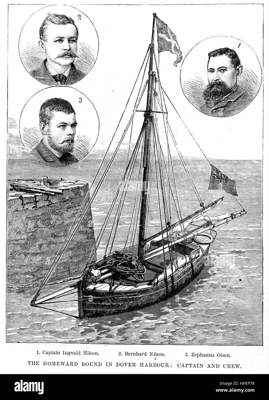 Illustration depicting a homeward bound ship. Dated 19th Century - Stock Image
