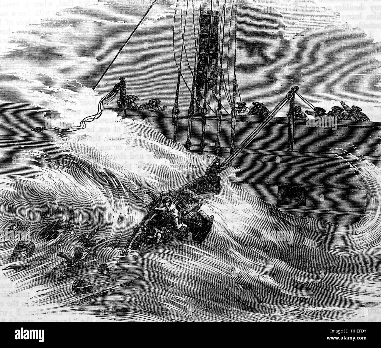 Illustration depicting a lifeboat capsizing because of difficulty of lowering from the boat. Dated 19th Century - Stock Image