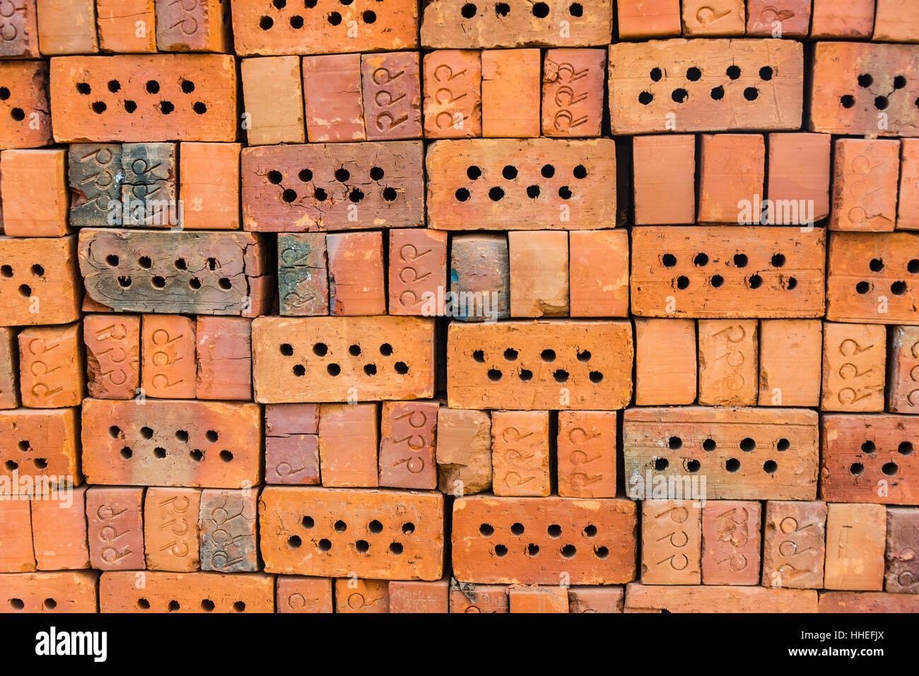 Red bricks, full-frame, Myanmar - Stock Image