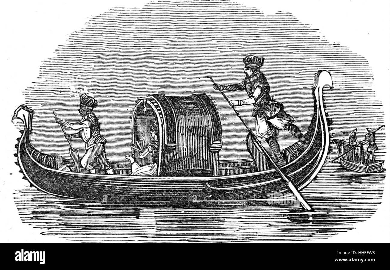 Engraving of a Venetian gondola. Dated 19th Century Stock Photo