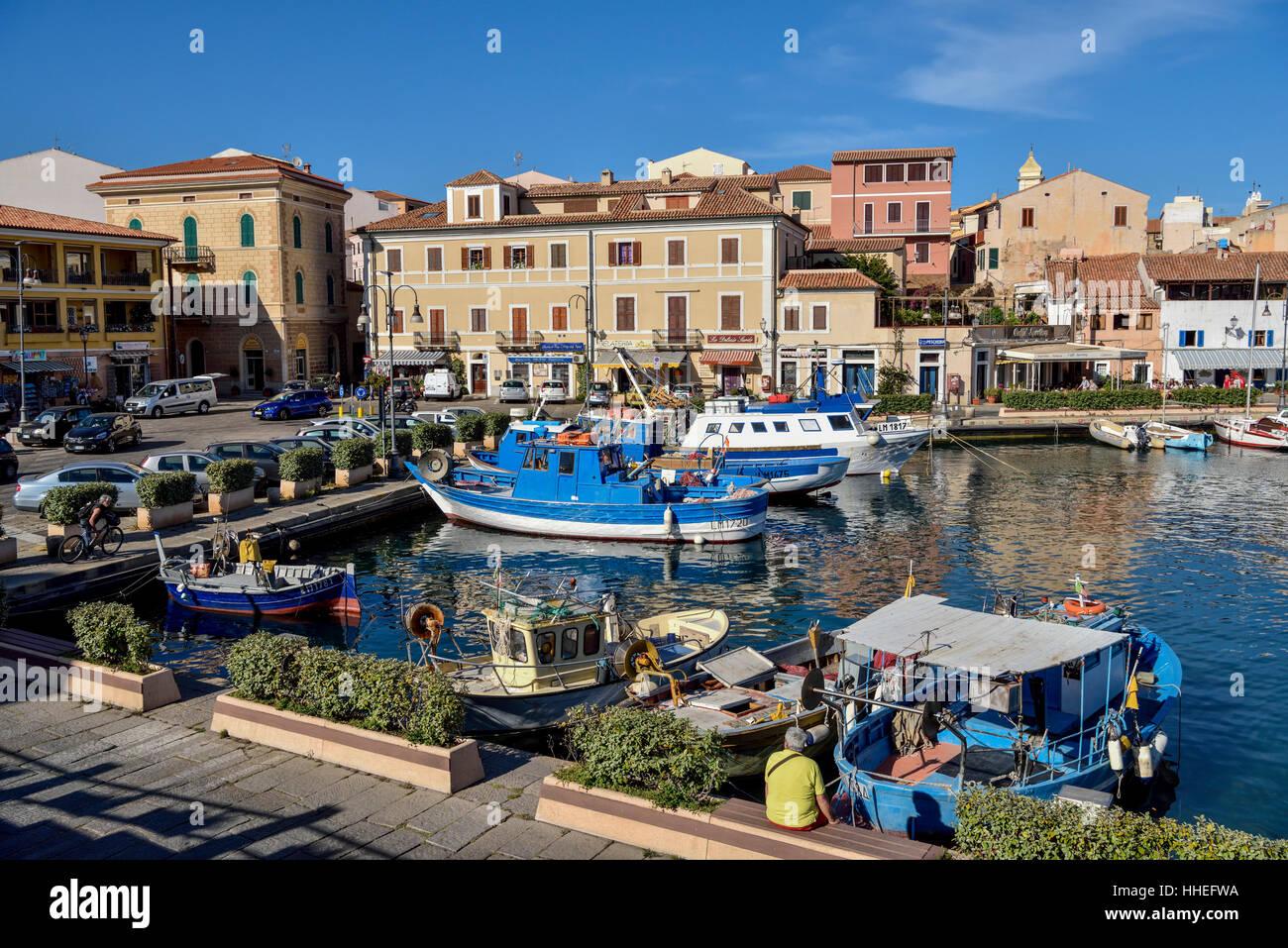 Port, La Maddalena, Gallura, Olbia-Tempio Province, Sardinia, Italy - Stock Image