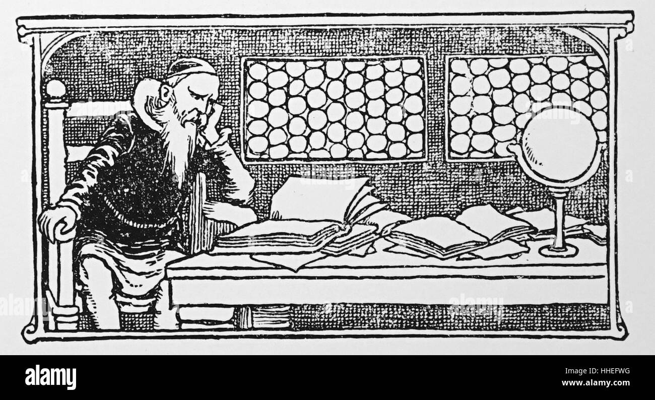 Illustration a Scholar. Dated 20th Century - Stock Image