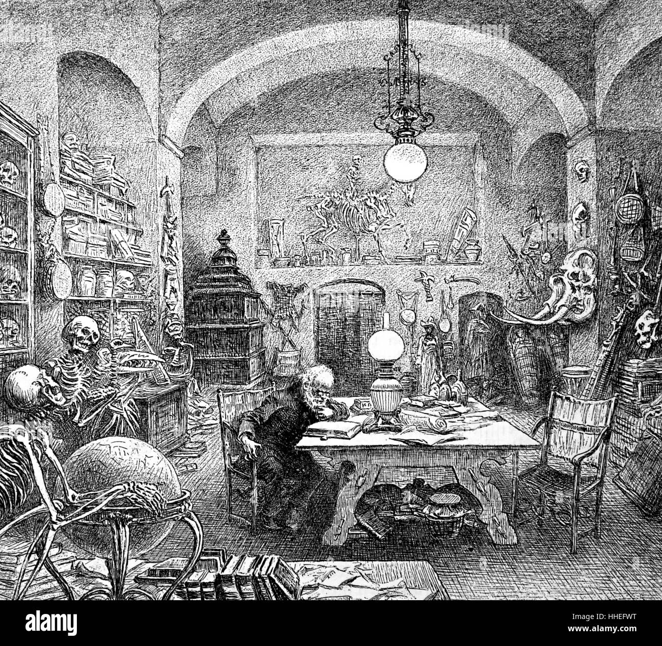 Study of the eccentric scholar. Dated 19th Century - Stock Image