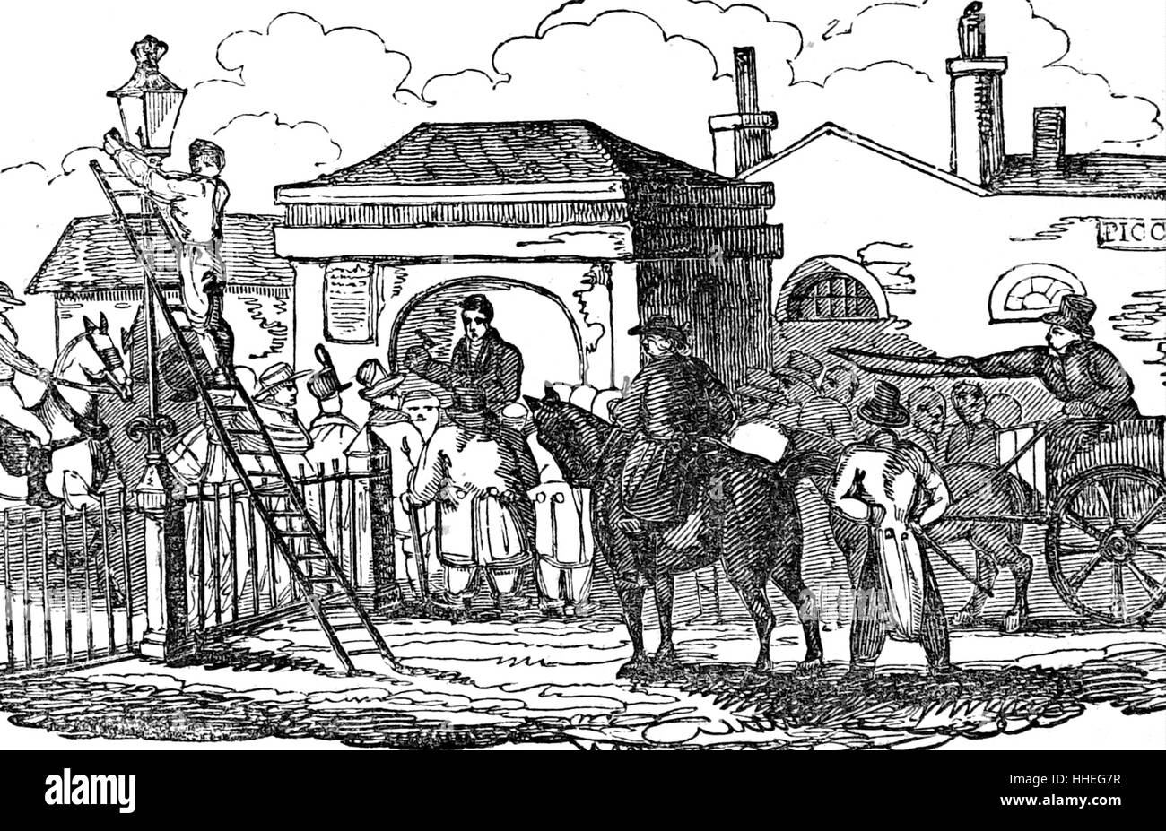 Engraving of a Toll-house and Toll-gate at Hyde Park Corner, London. Dated 19th Century - Stock Image