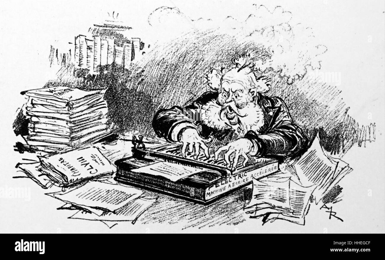 Cartoon depicting an academic writing his Magnus opus by Albert Robida - Stock Image