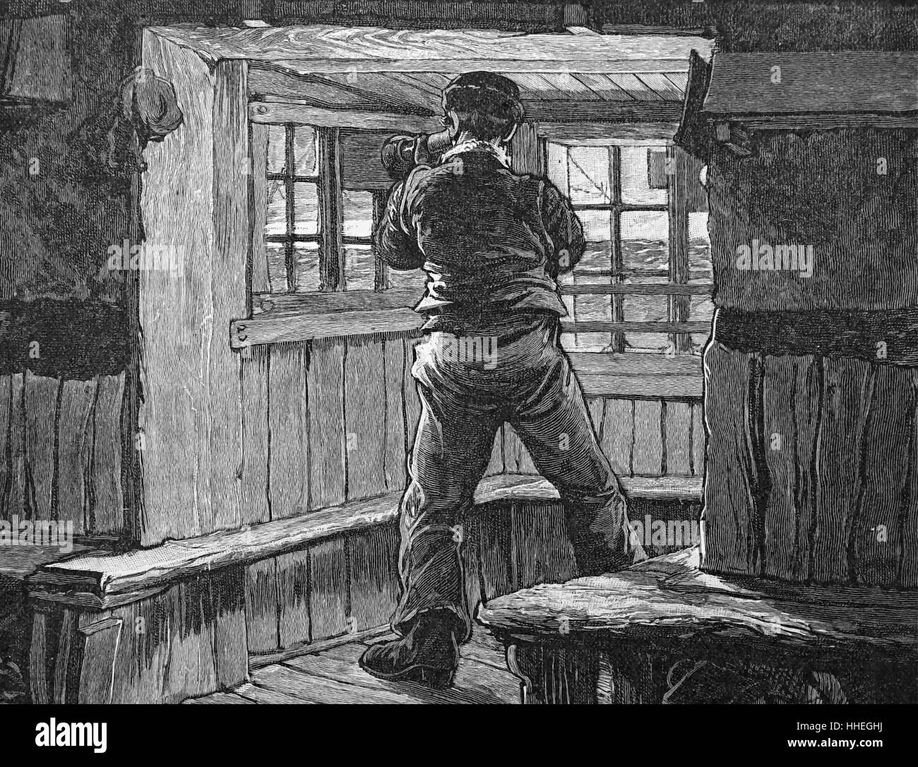 Engraving depicting a lifeboat lookout scanning the sea with a telescope. Dated 19th Century - Stock Image