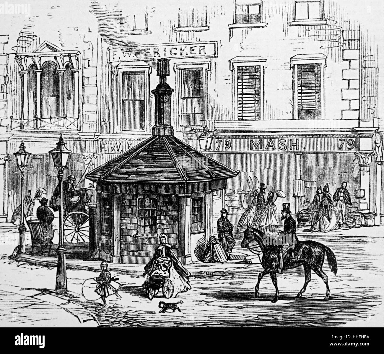 Engraving depicting the Notting Hill Turnpike gate shortly before demolition. Dated 19th Century - Stock Image
