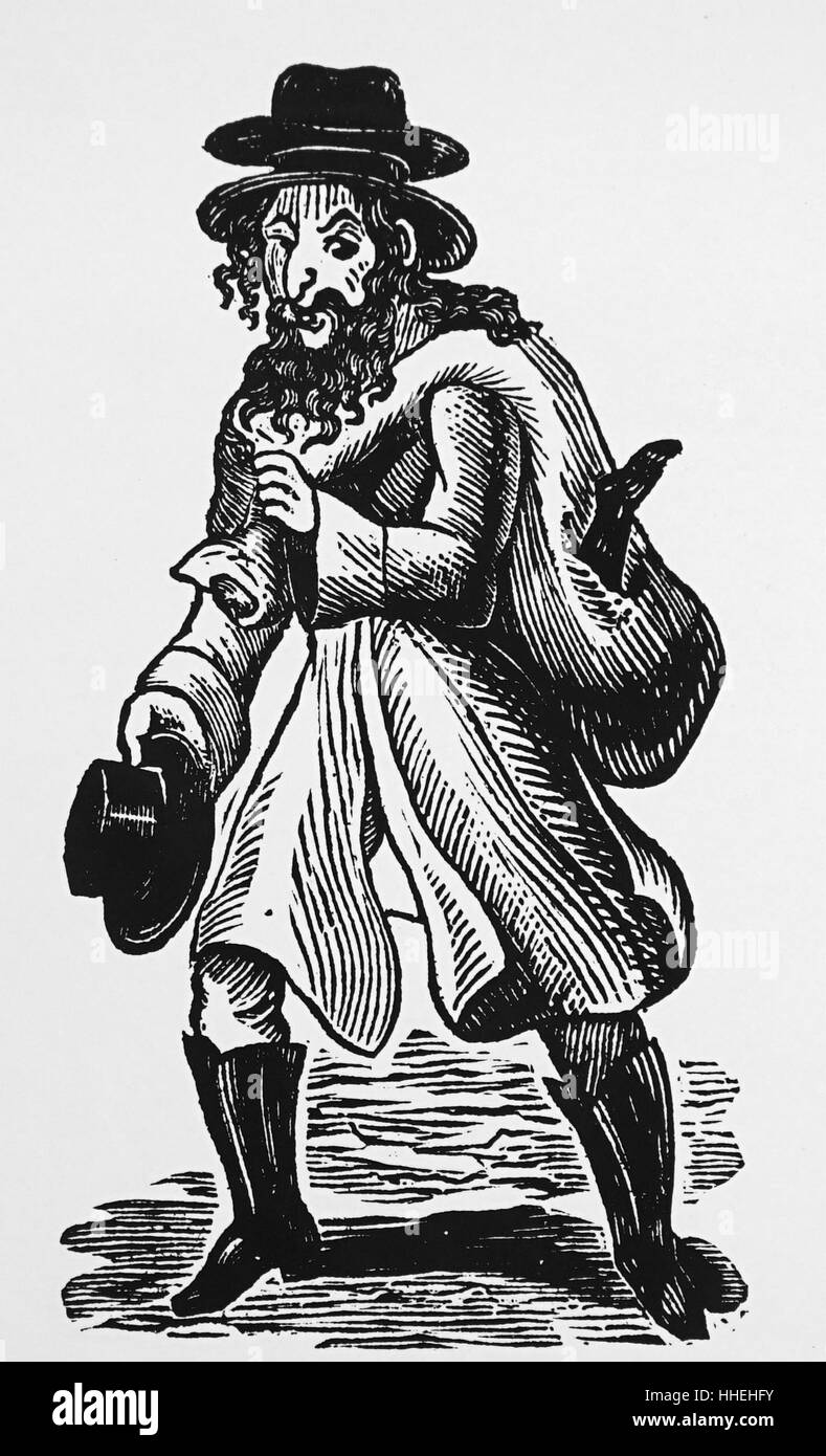Engraving depicting an Old Jewish clothes collector from London. Dated 19th Century - Stock Image