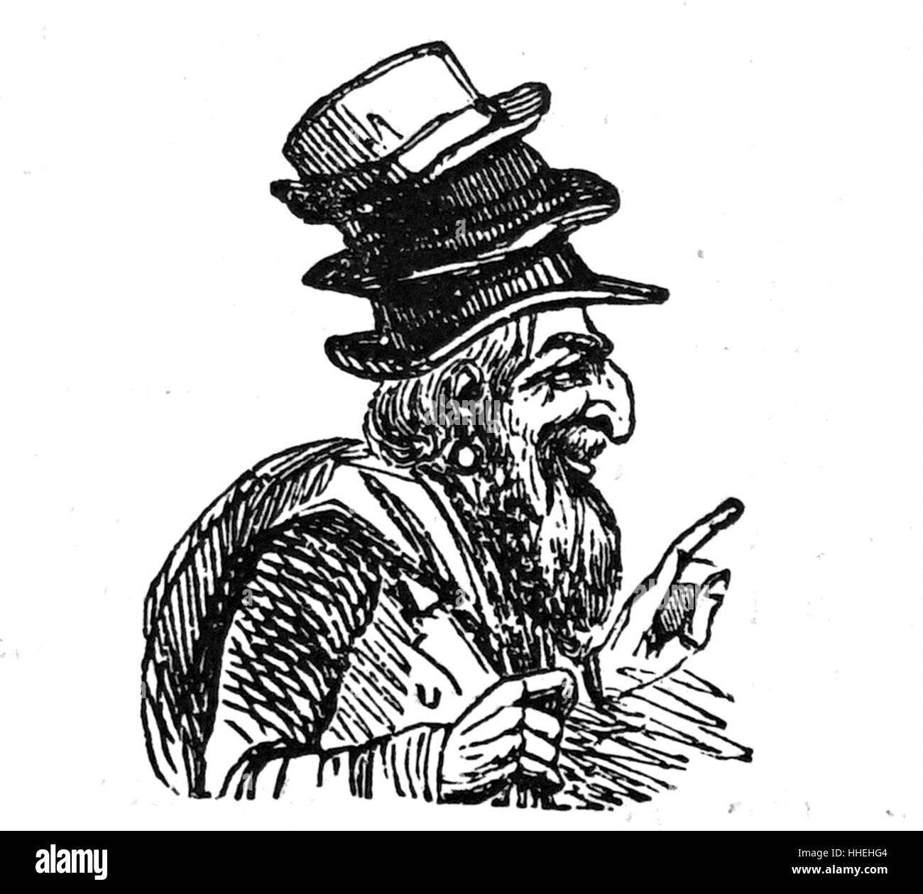 Illustration of a Jewish street trader selling hats. Dated 19th Century - Stock Image
