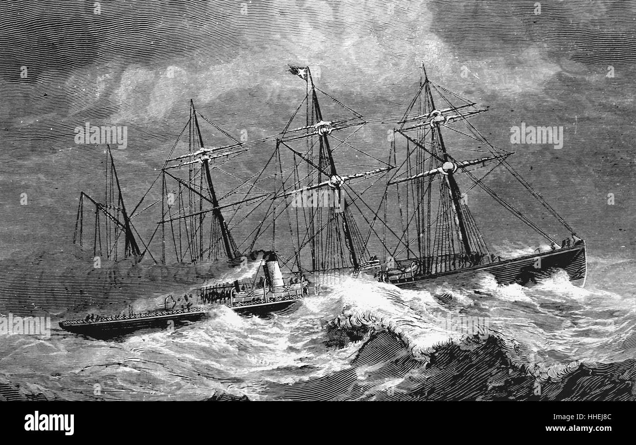 Portrait of a steamer of the White Star Line crossing the Atlantic. Dated 19th Century - Stock Image