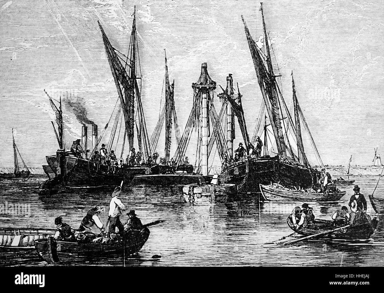Illustration depicting the raising of the barque 'Samuel' in the Thames near Gravesend. Dated 19th Century - Stock Image