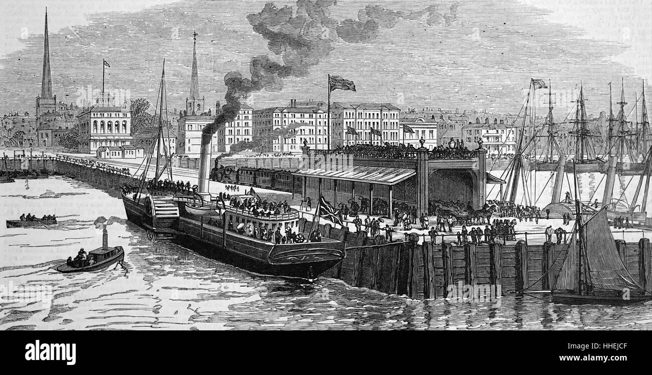 Portrait of the Isle of Wight steamer at Southampton Pier. Dated 19th Century - Stock Image