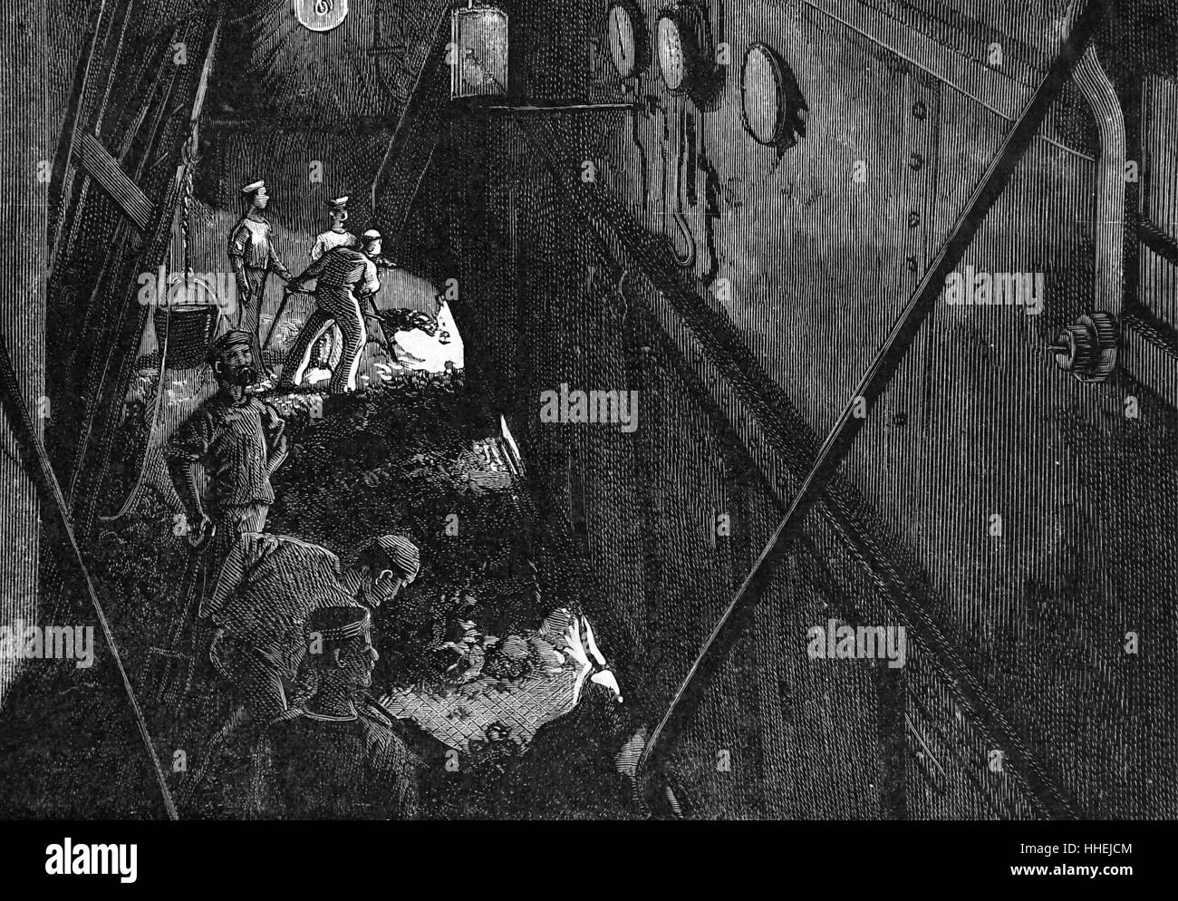 Engraving depicting a scene in one of the four stokehole's of EMS Conqueror during exercises. Dated 19th Century - Stock Image