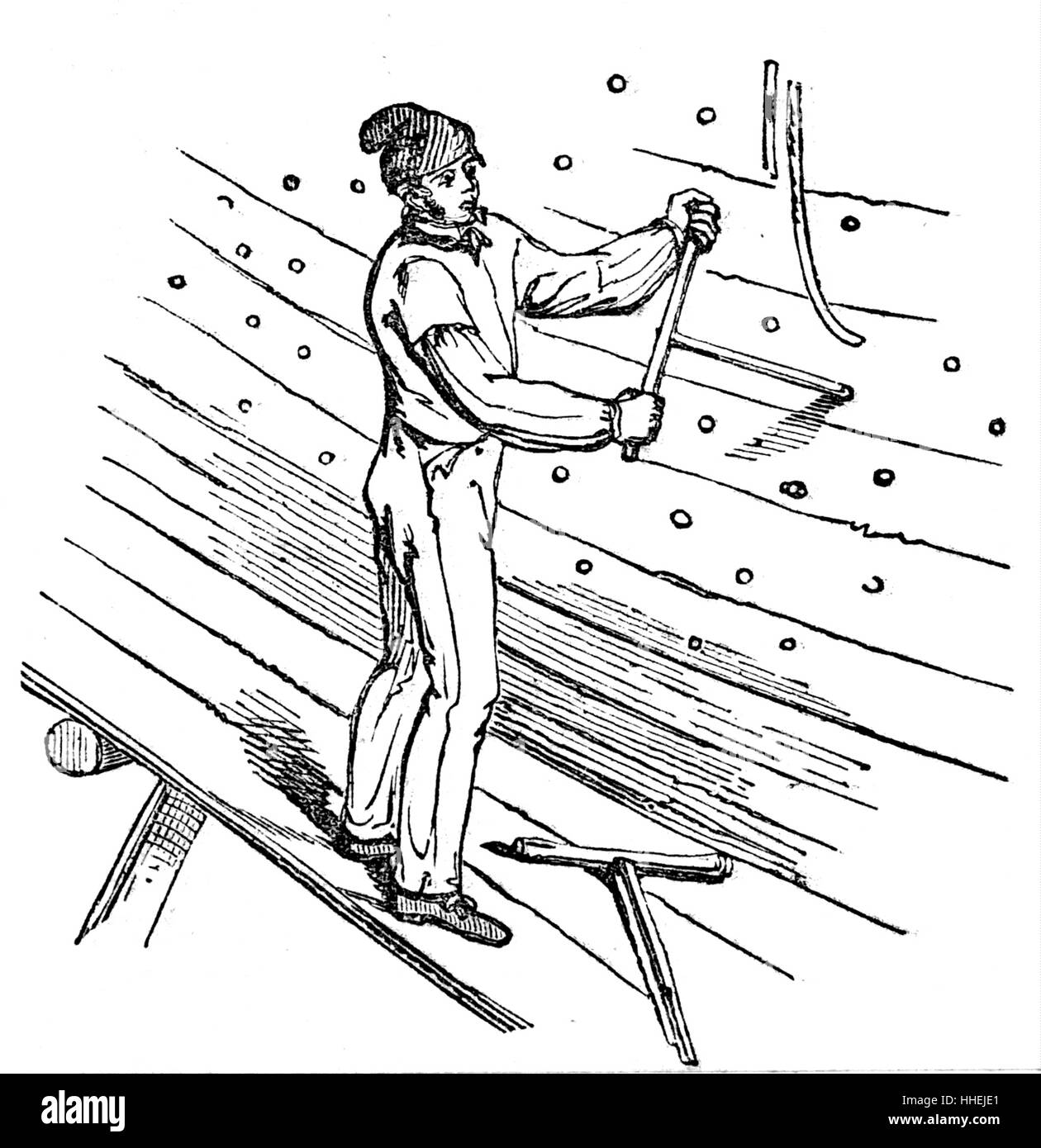 Illustration depicting the boring of holes in the planks to receive treenails - Stock Image