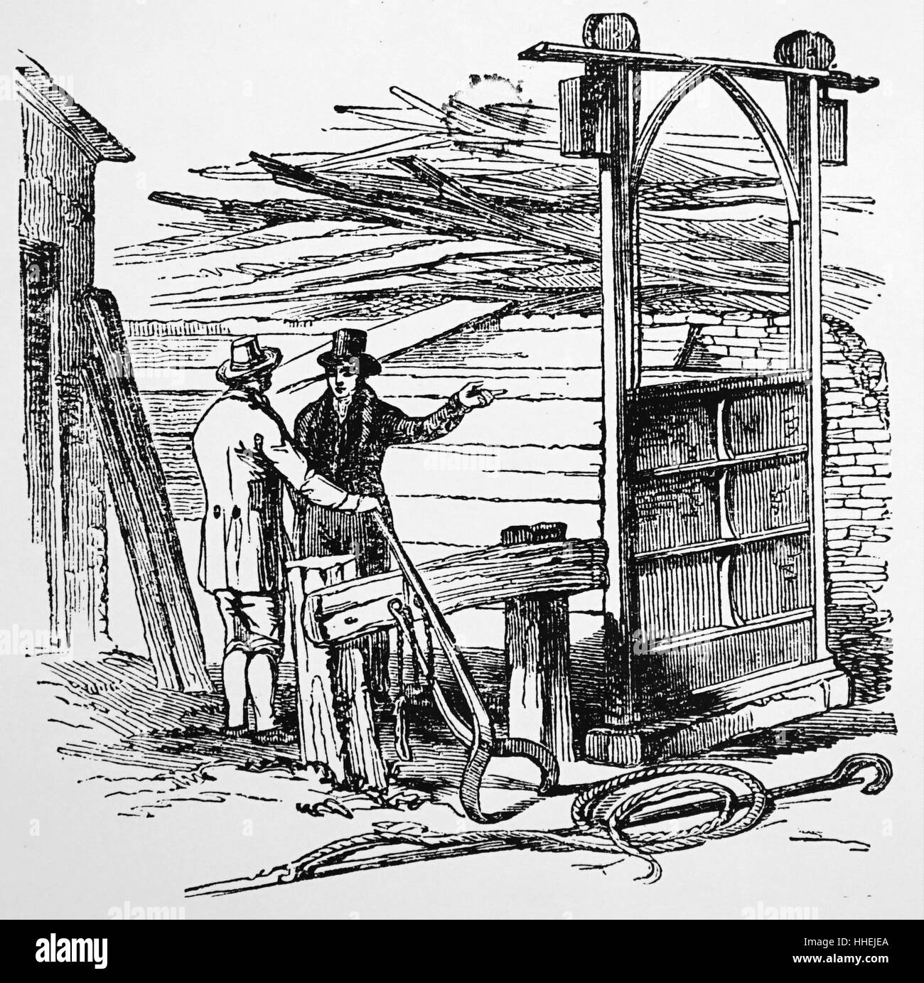 Illustration of a steaming chest in which planks were steamed before being laid on the timbers. Dated 19th Century - Stock Image