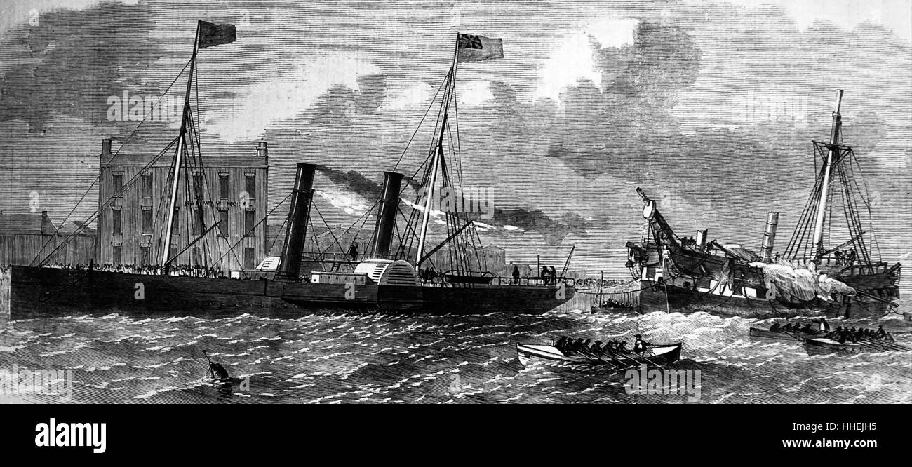 Engraving depicting a barque sailing vessel - Stock Image