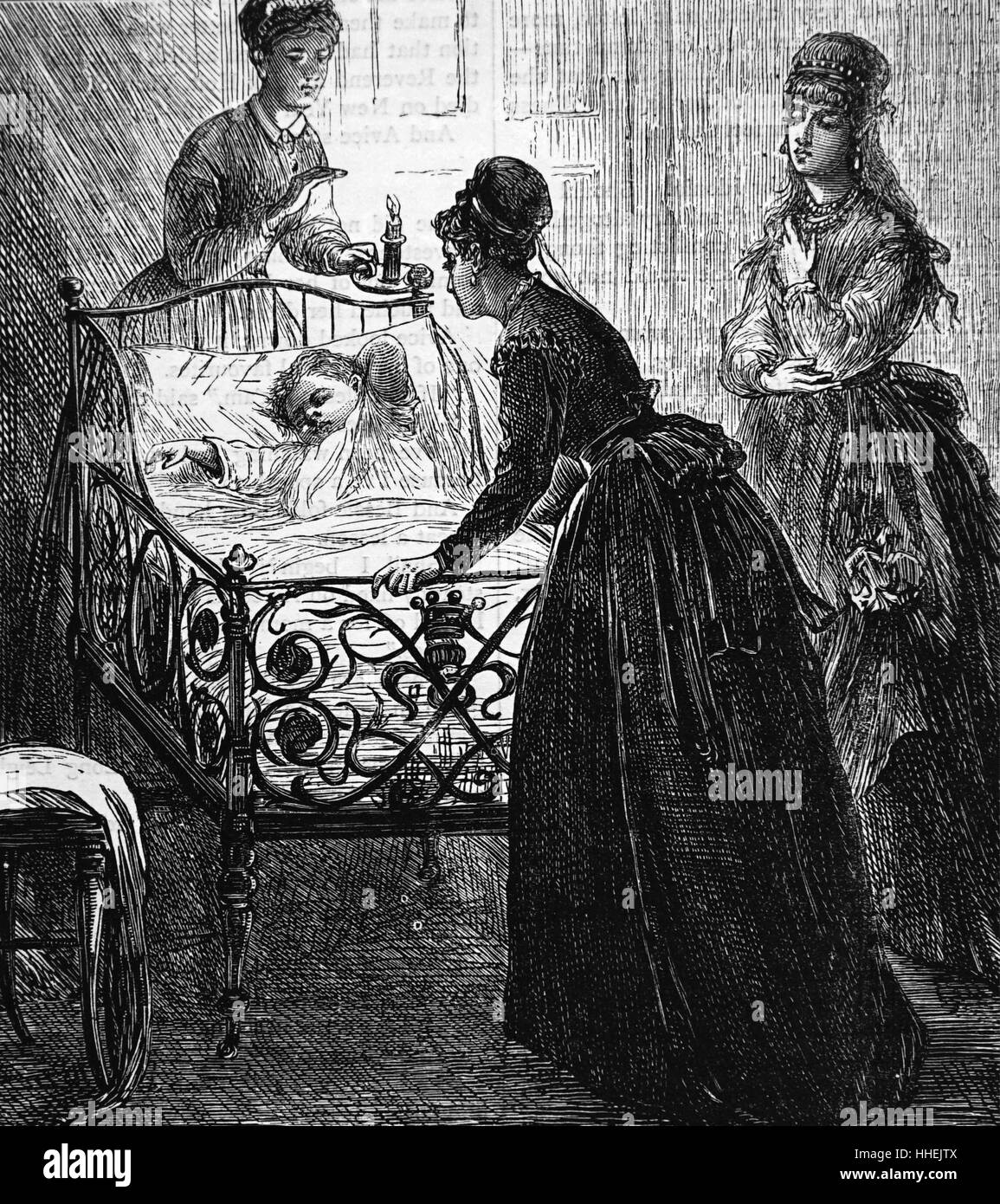 Illustration Depicting A Young Mother Saying Goodnight To Her Child