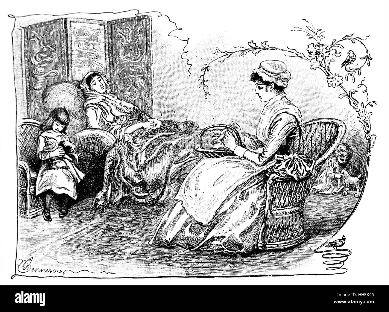 Illustration depicting a nursemaid with her charges in their mother's dressing room. Dated 19th Century - Stock Image