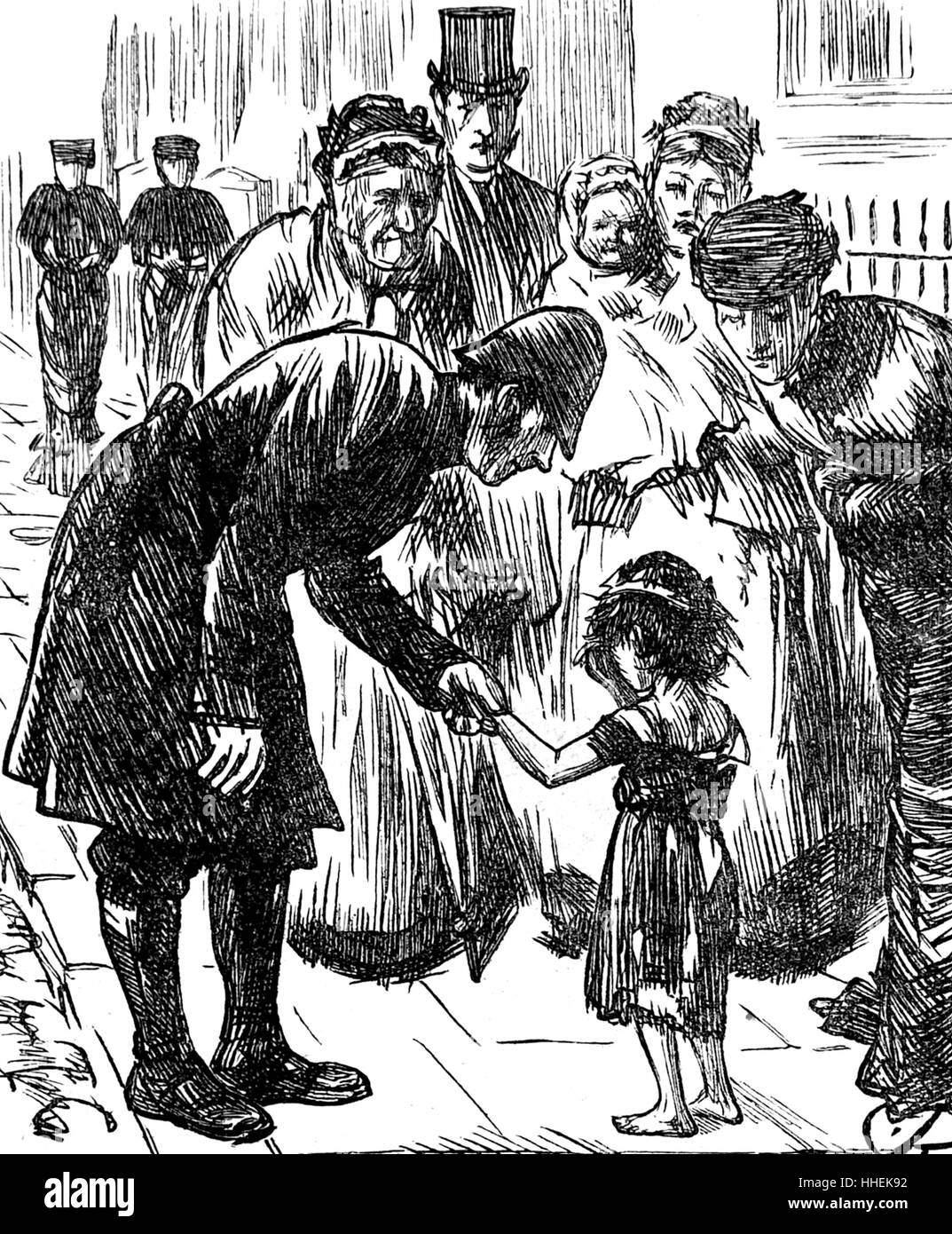 Illustration depicting a policeman and passers-by trying to help a lost child by Fred Barnard - Stock Image