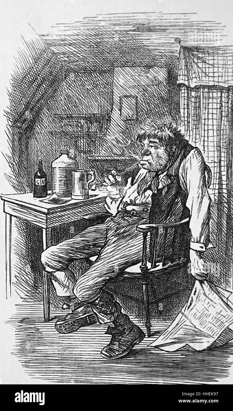 Cartoon 1872 depicting an Englishman drunk and stupefied - Stock Image