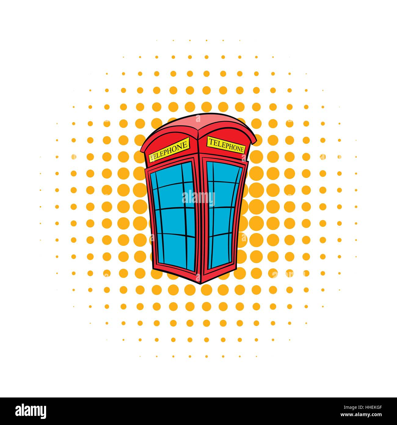 British red phone booth icon, comics style - Stock Image