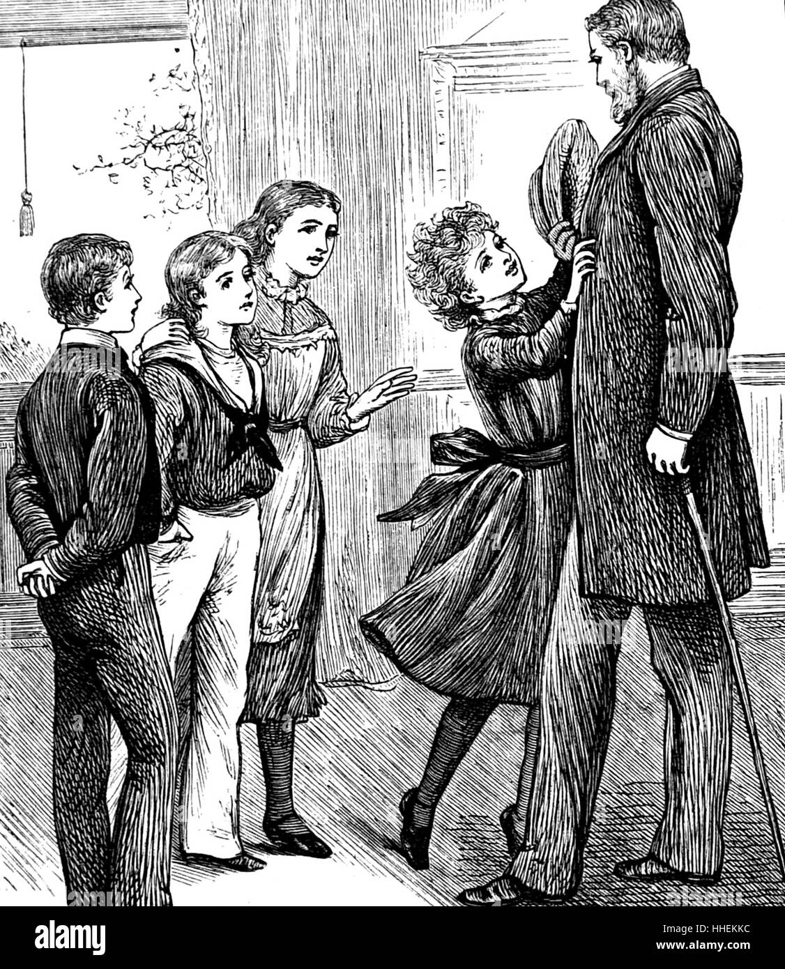 Illustration of children greeting their favourite uncle. Dated 19th Century - Stock Image