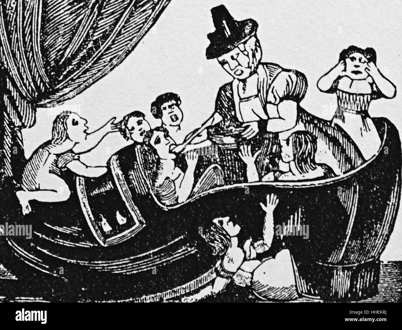 Woodcut illustration depicting an English nursery rhyme (the old woman who lived in a shoe). Dated 19th Century - Stock Image