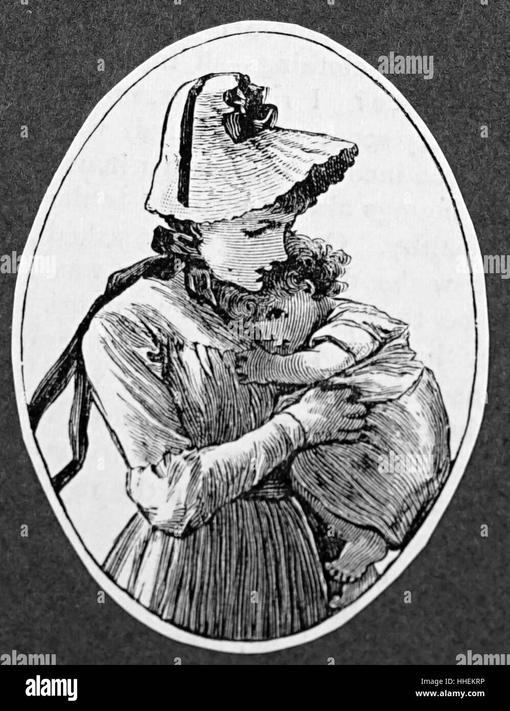 Engraving of a young nursemaid and her charge. Dated 19th Century - Stock Image