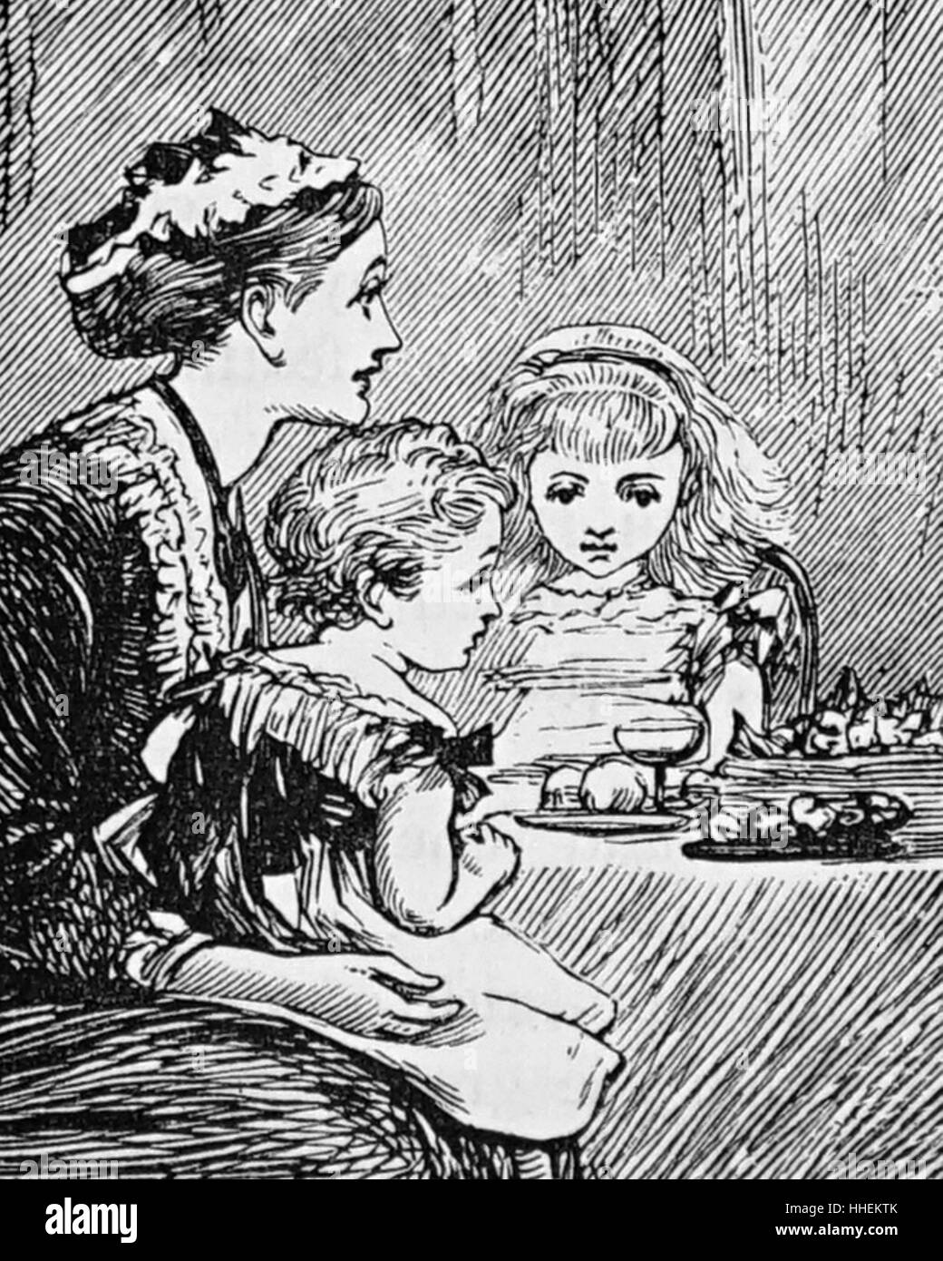 Illustration of a nursemaid feeding her charges their breakfast. Dated 19th Century - Stock Image