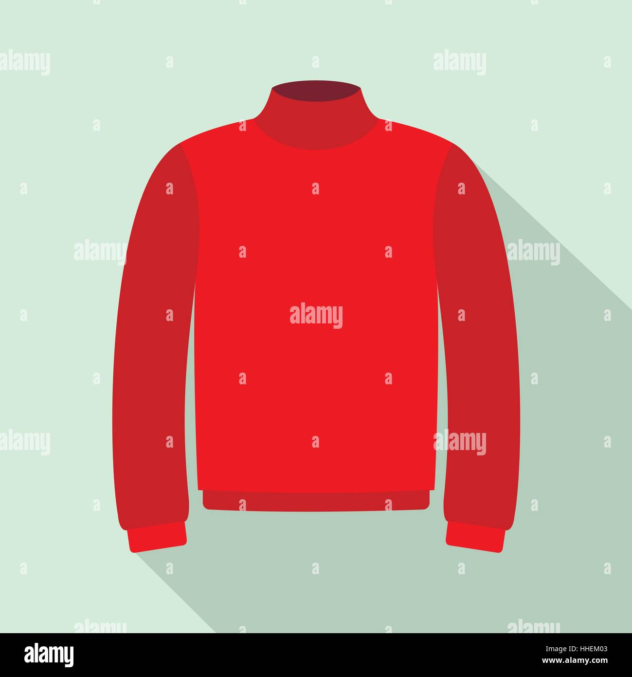Red warm sweater icon, flat style - Stock Vector