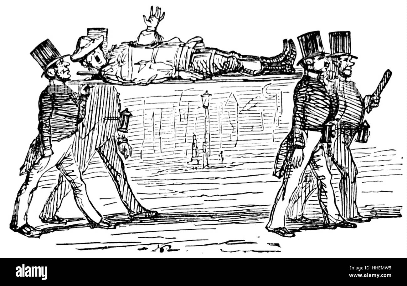 Cartoon depicting a wounded soldier being carried on a stretcher by men in top hats. Dated 19th Century - Stock Image