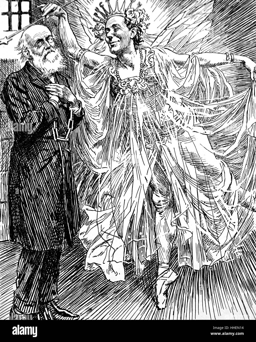 Cartoon depicting a drunken man's hallucination of a male dressed as a fairy queen. Dated 19th Century - Stock Image