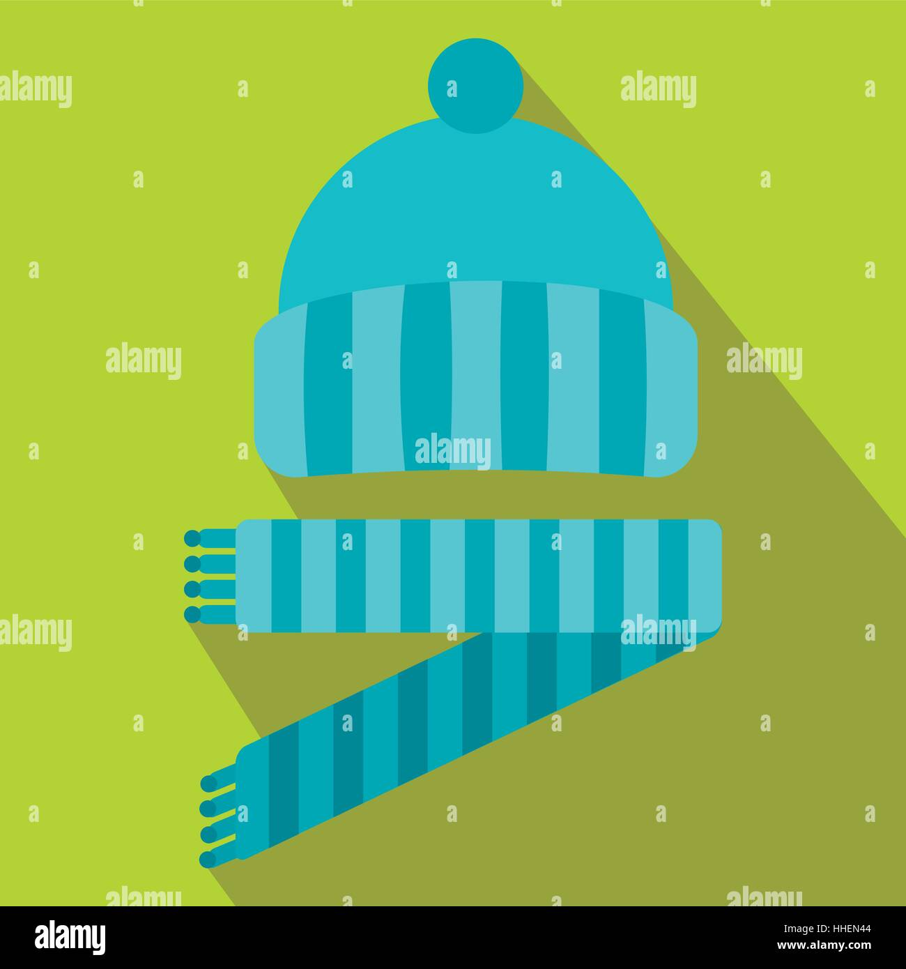 Blue knitted hat and scarf icon, flat style - Stock Vector