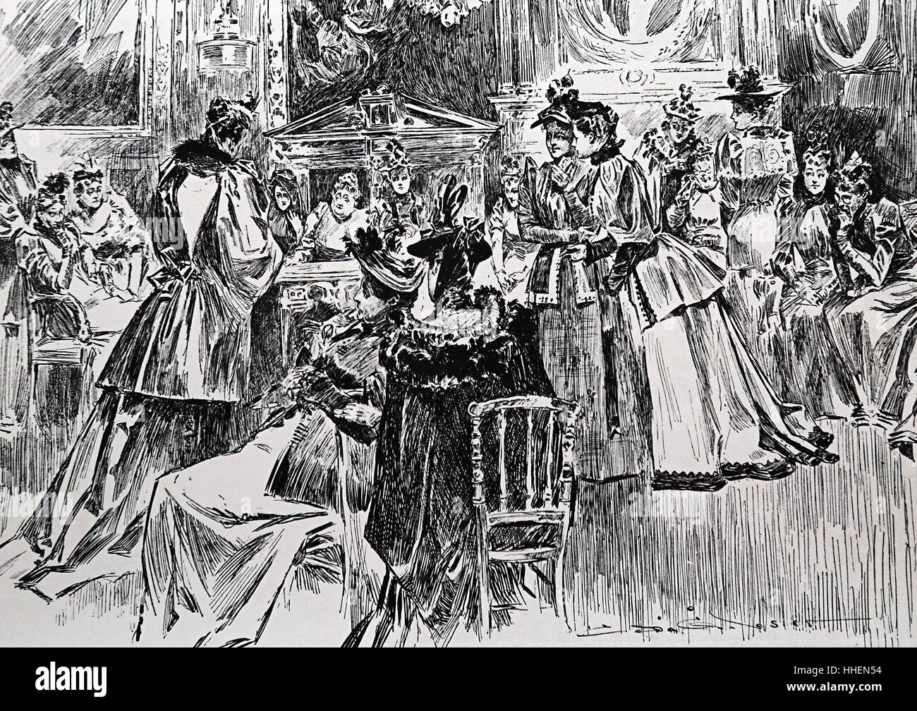 Illustration depicting High Society in the Golden Age of New York. Dated 19th Century - Stock Image