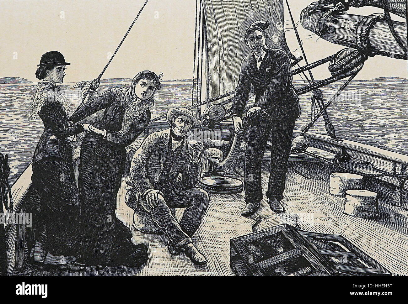 Illustration depicting a yachting trip, with two gentlemen and gentlewomen. Dated 19th Century - Stock Image