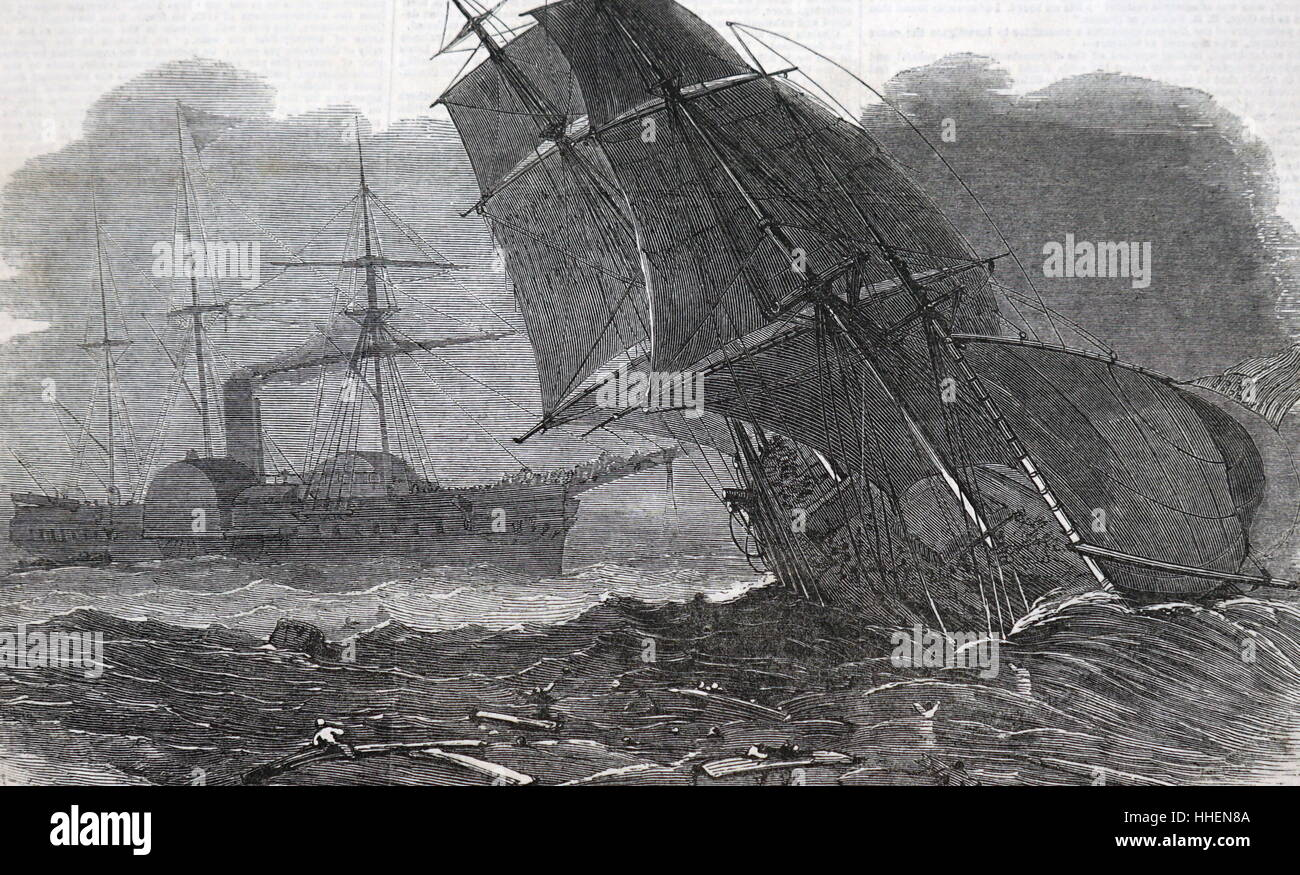 Illustration depicting an emigrant ship run down. Dated 19th Century - Stock Image