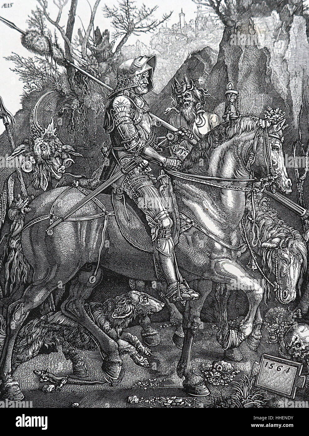 Print titled 'The Knight of Death' by Albrecht Dürer (1471-1528) a painter, printmaker, and theorist. - Stock Image