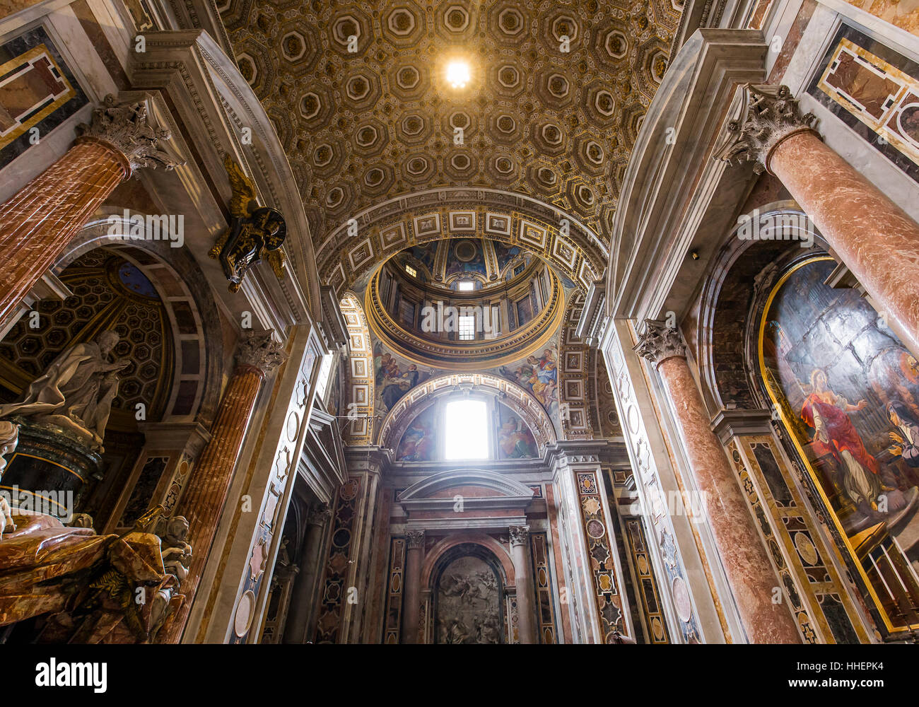 VATICAN CITY, VATICAN – JUNE 15, 2015 : interiors and architectural details of Basilica of saint Peter, june 15, - Stock Image