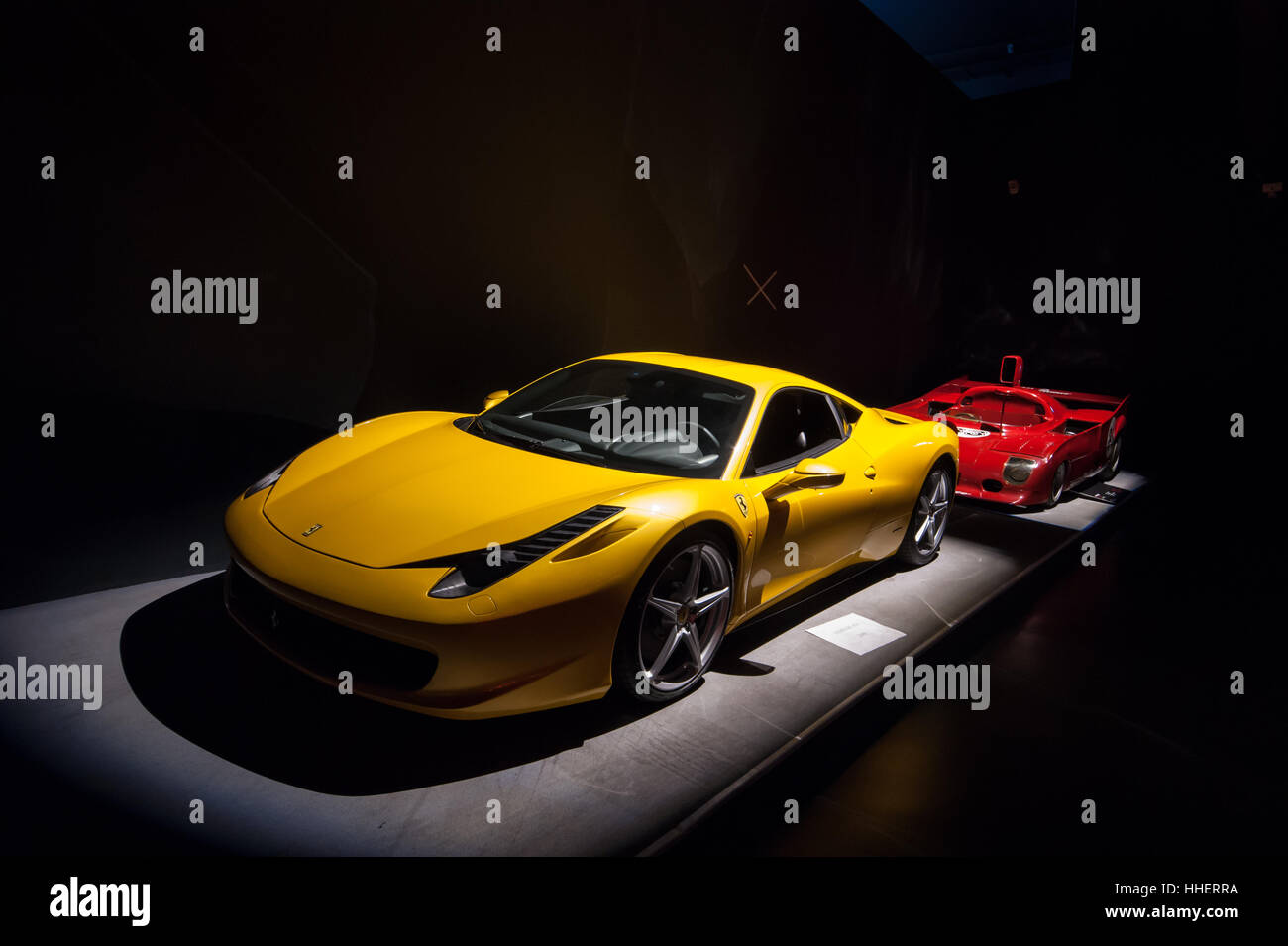 A yellow Ferrari 458 Italia V8 mid-engined sports car, design Donato Coco / Pininfarina, on view at the National - Stock Image
