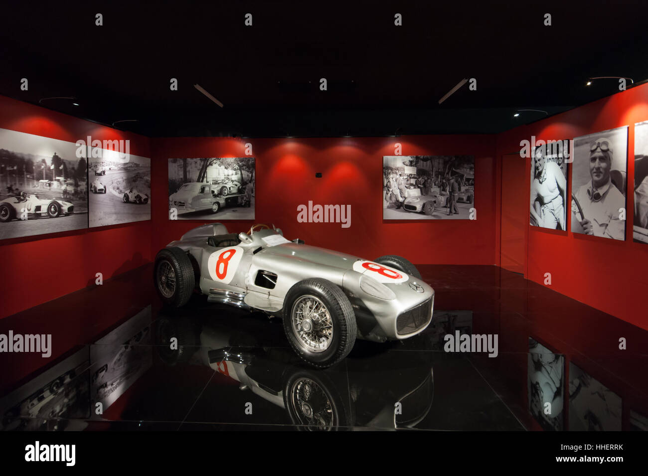 A vintage 1954 F1 race car Mercedes Benz RW 196  pictured at the National automobile Museum in Turin Inexhibit magazine - Stock Image