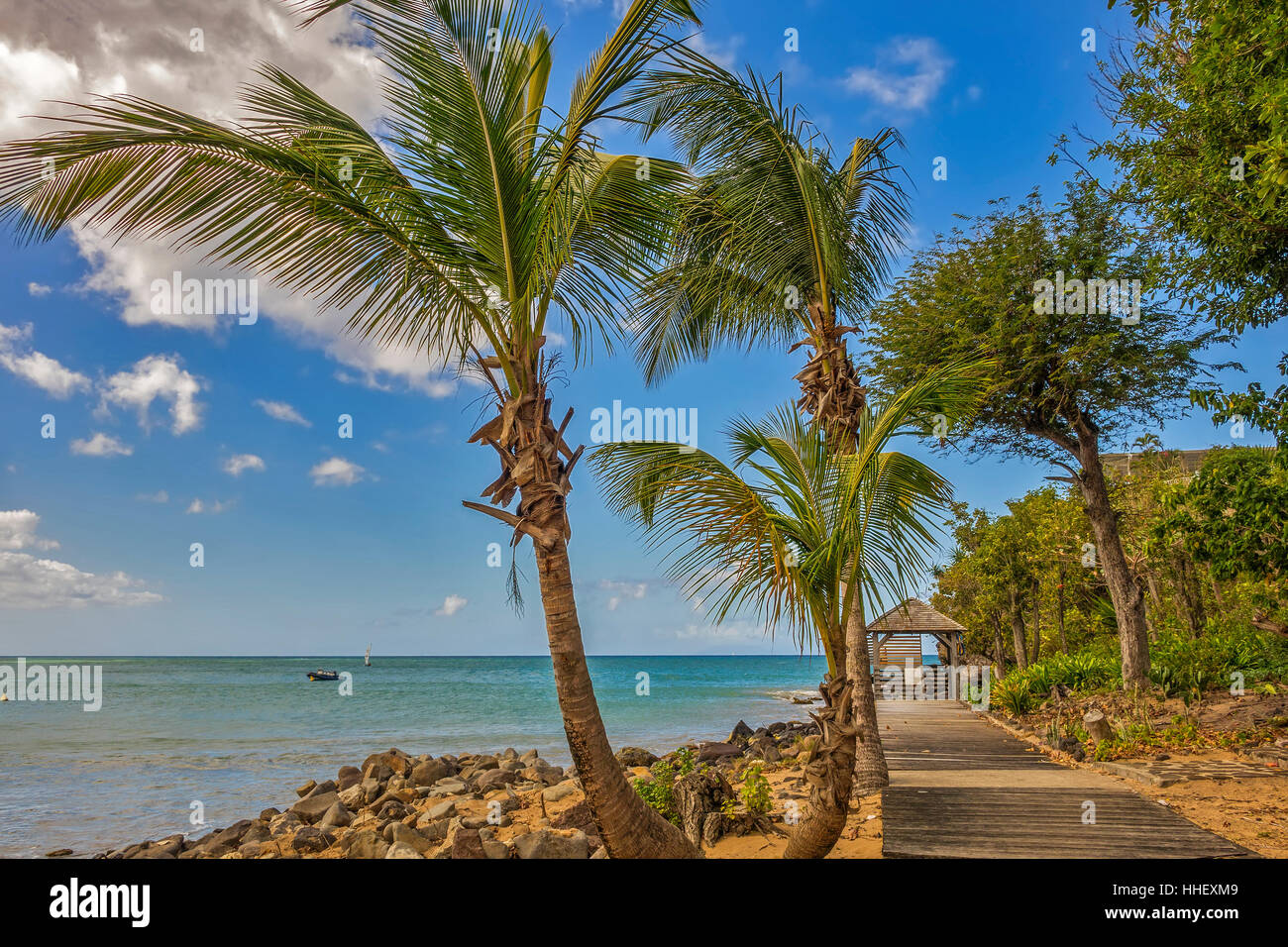Beach Hut On The beach Guadeloupe West Indies - Stock Image
