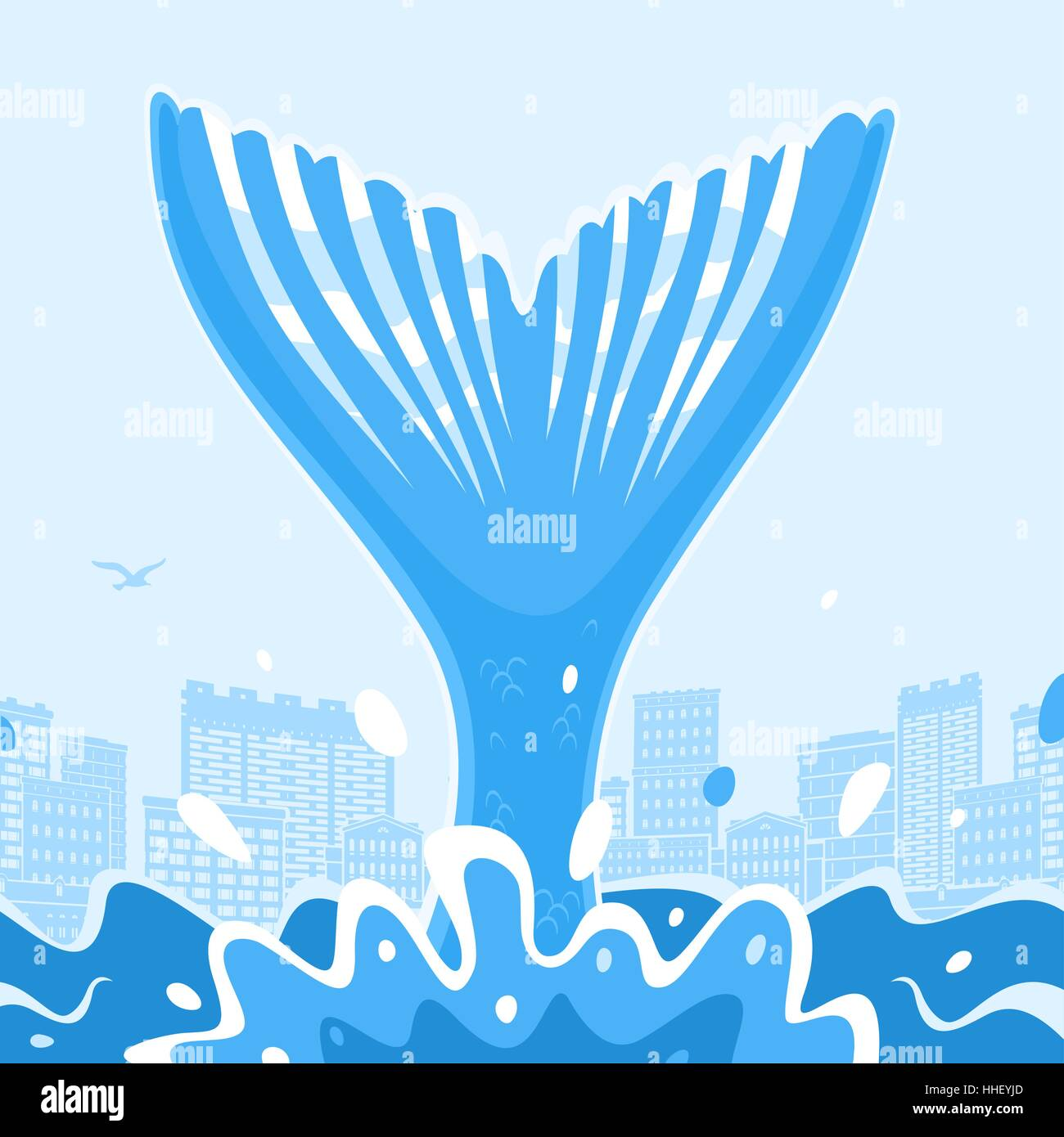 Tail Big Fish in the City - Stock Vector