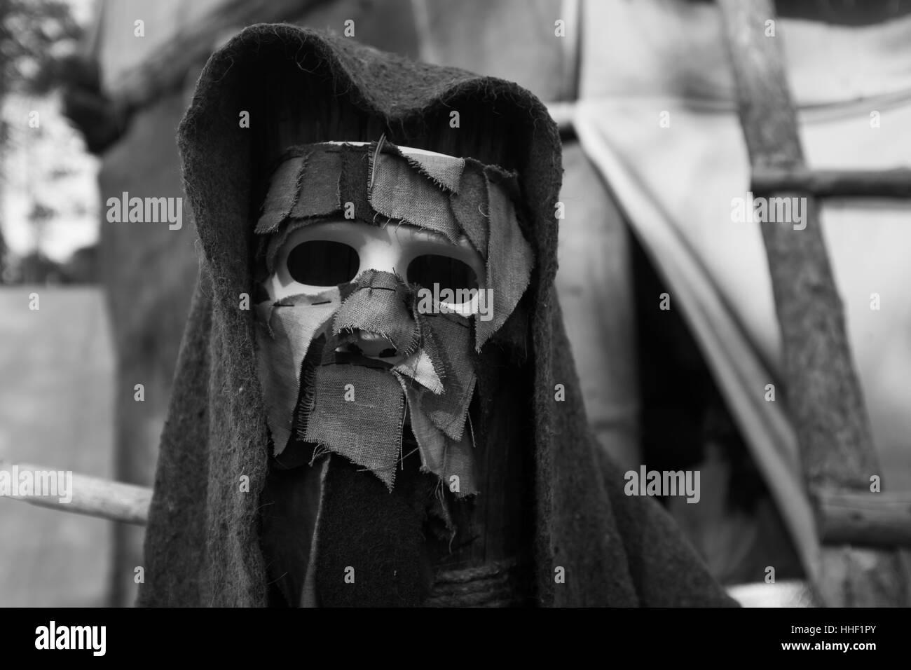 Creepy halloween mask.Horror mask. Halloween costume. - Stock Image
