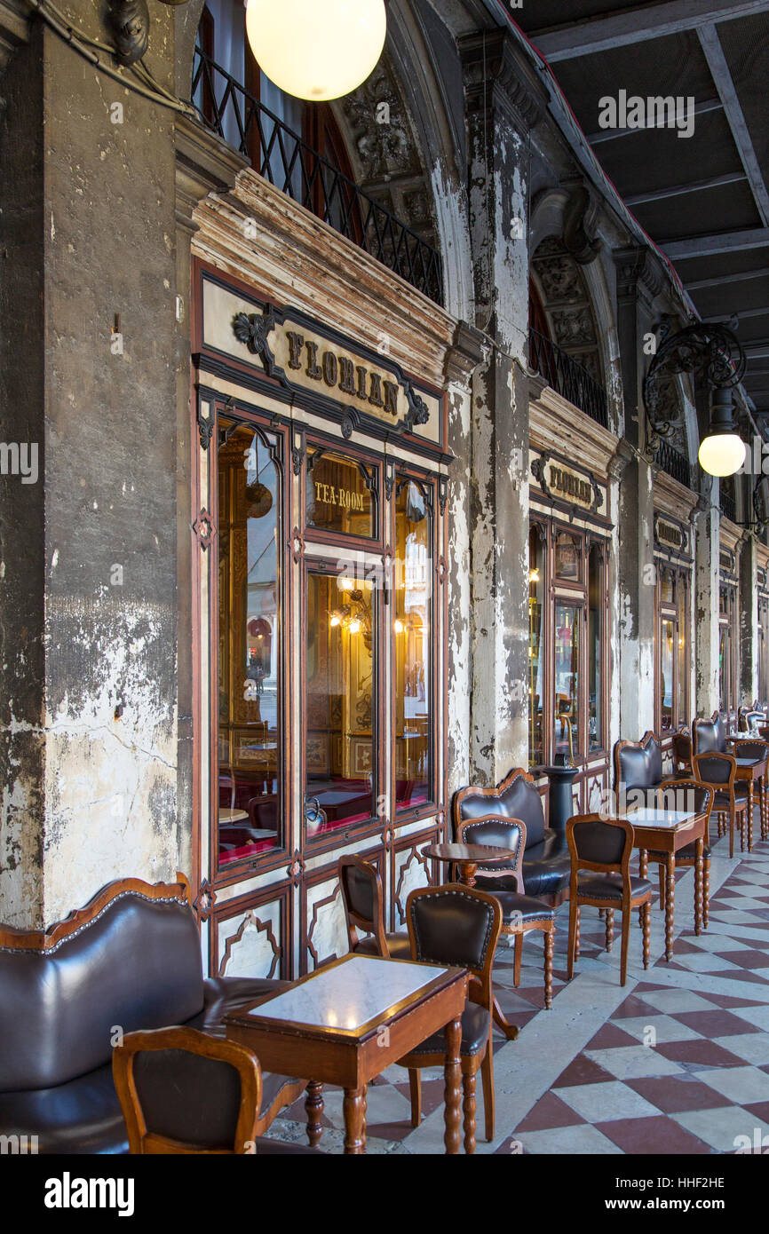 Caffe Florian (b. 1720), the oldest cafe in the world,  Piazza San Marco, Venice, Veneto, Italy - Stock Image