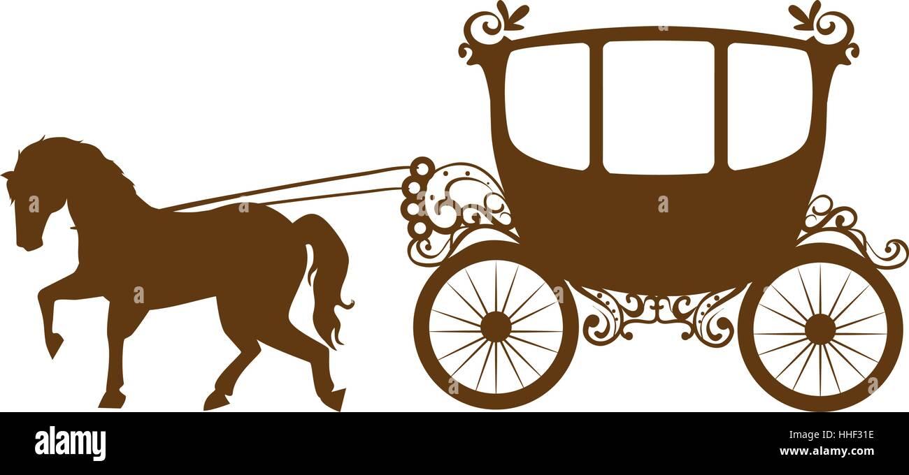 Horse Carriage Romantic Card Vector Illustration Design Stock Vector Image Art Alamy