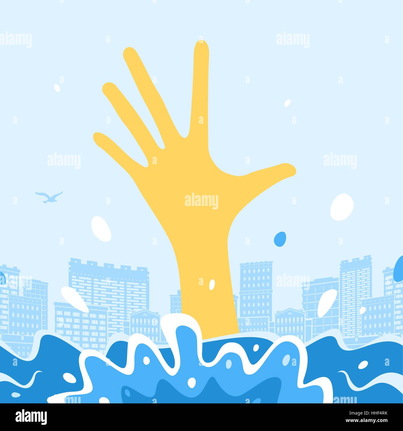 Man Sinks and hand out of the water - Stock Vector