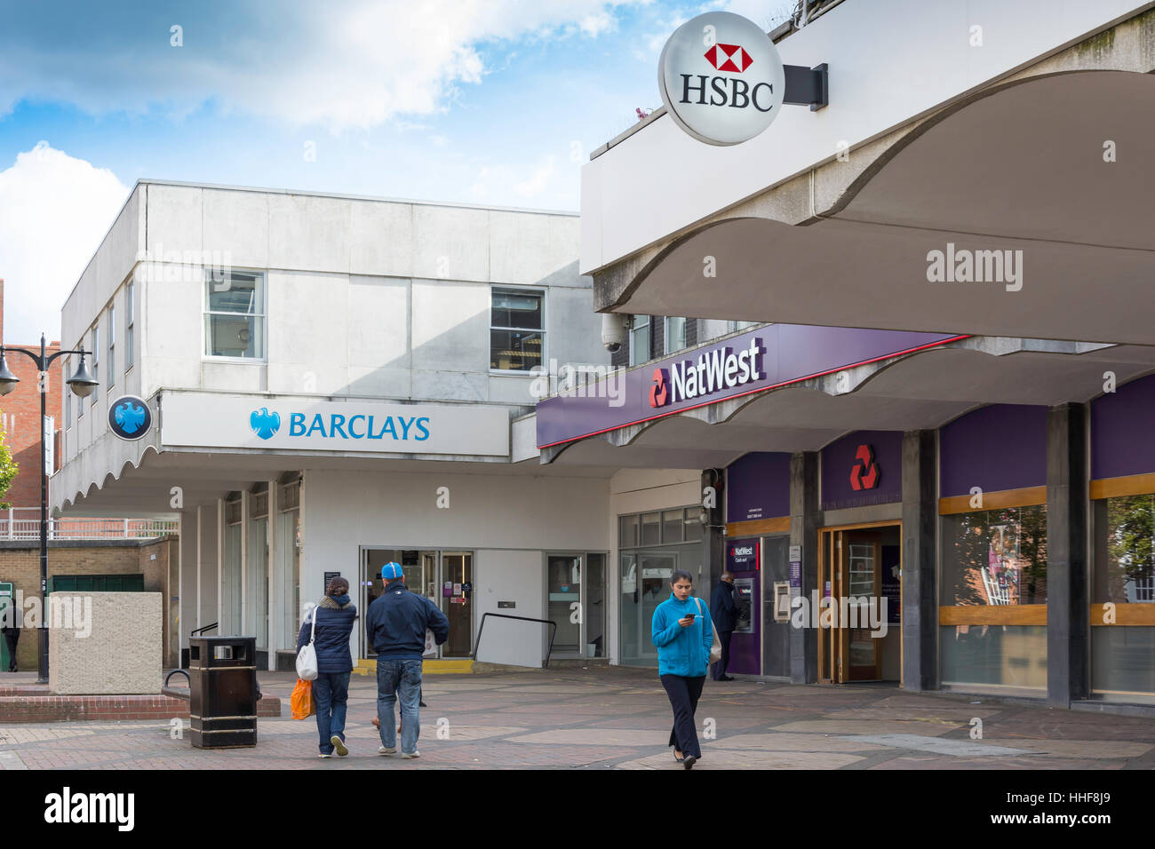 High Street banks (Barclays, NatWest, HSBC), Bracknell, Berkshire, England, United Kingdom - Stock Image
