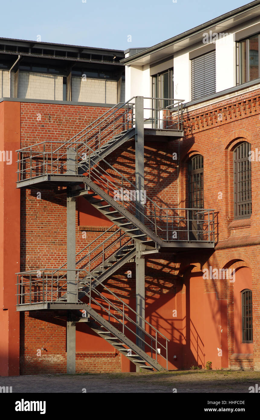 Stairs, Facade, Railing, Spiral Staircase, Emergency Exit, Stairs, House,