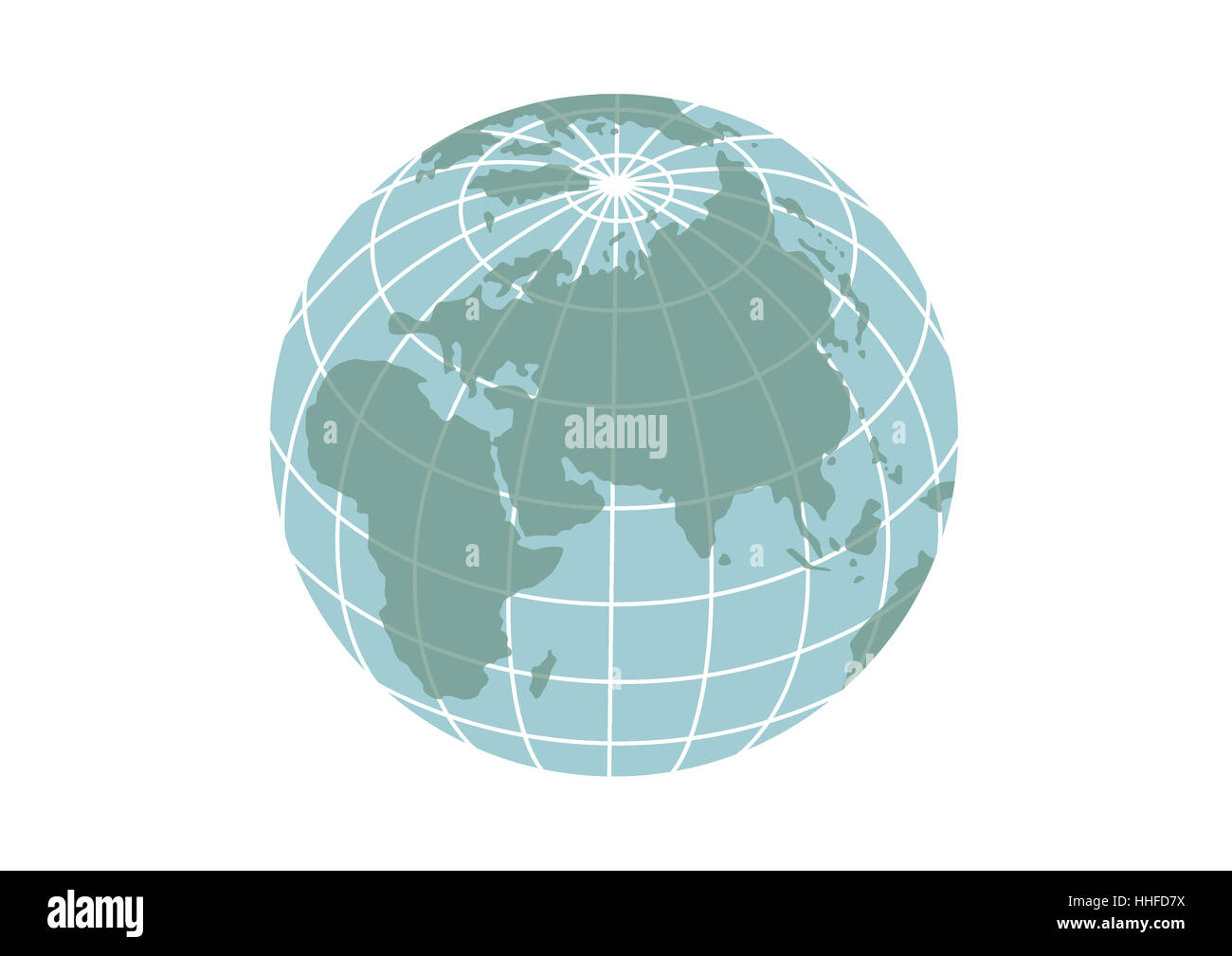 Illustration of planet Earth icon isolated on a white background. - Stock Image