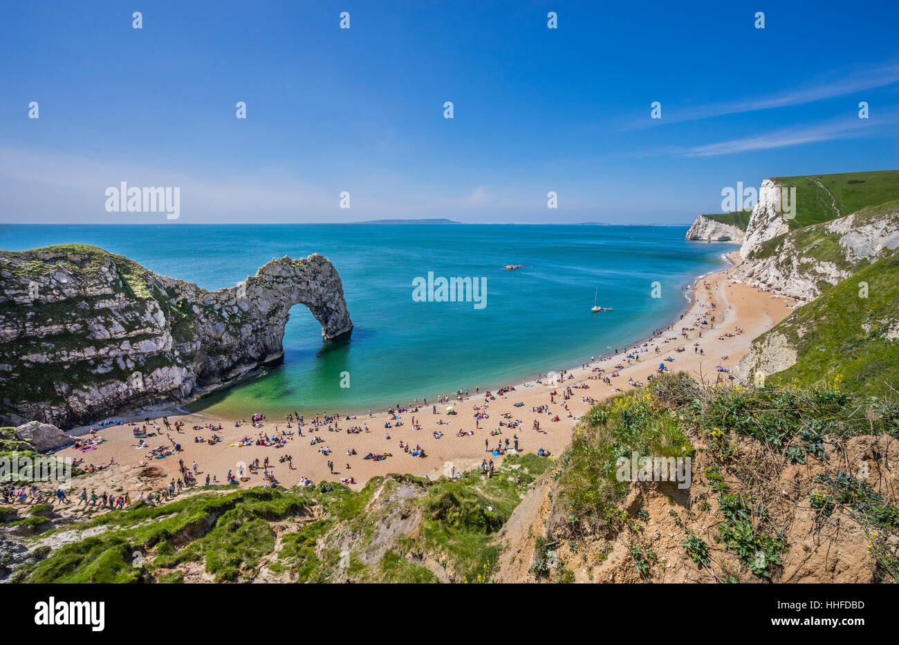 Great Britain, South West England, Dorset, Jurassic Coast, the natural limestone arch of Durdle Door - Stock Image